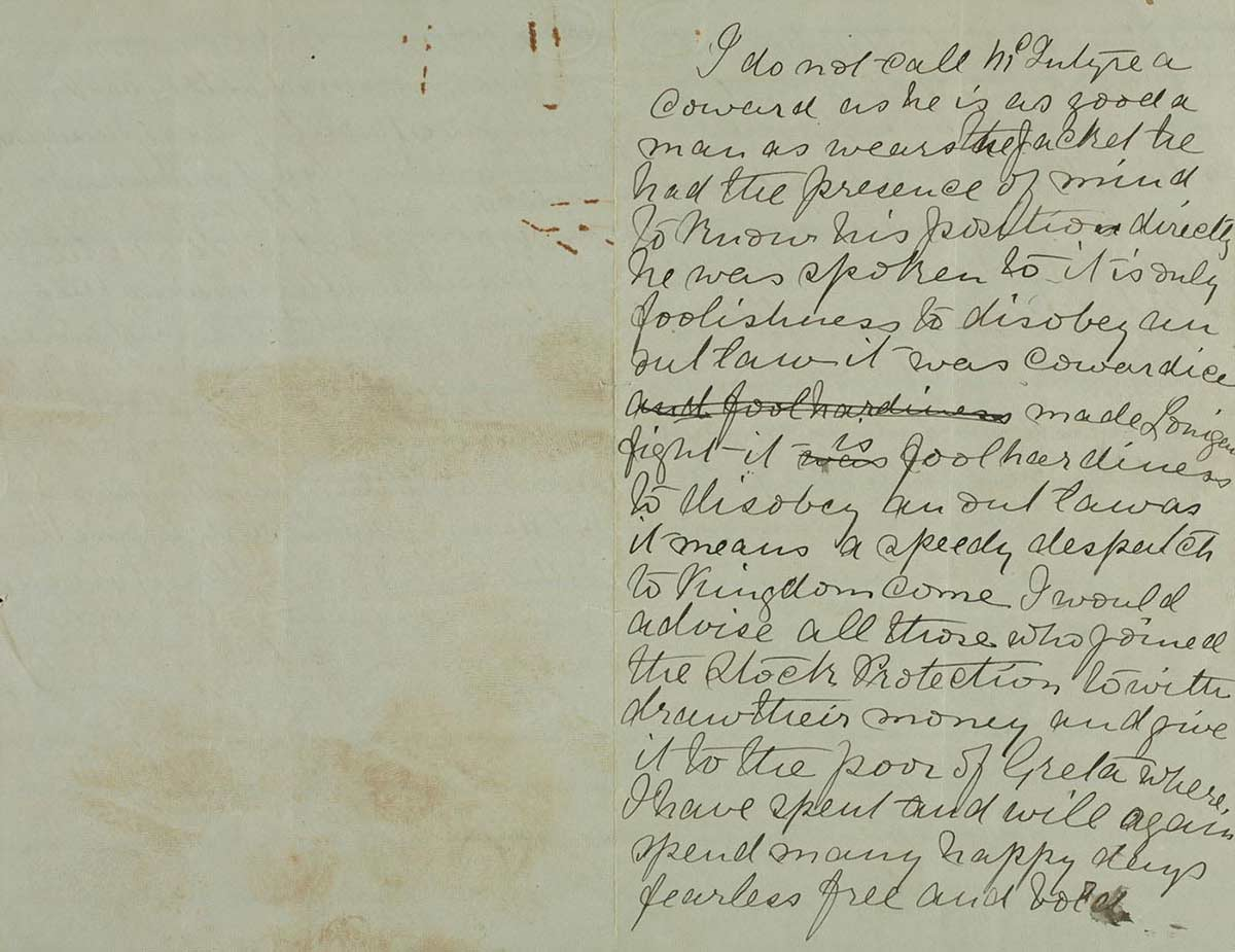 Page thirty seven and thirty eight of Ned Kelly's Jerilderie letter. - click to view larger image