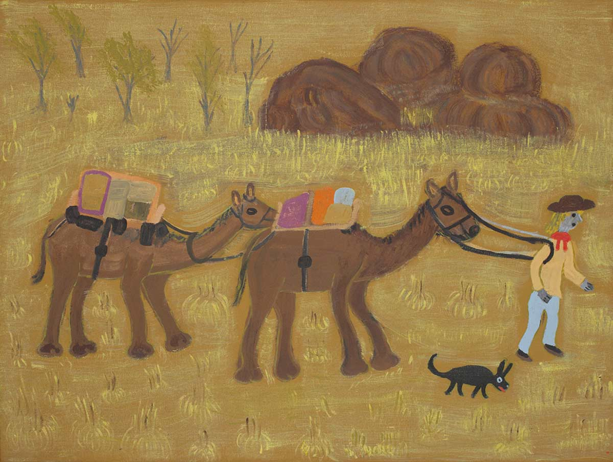 An acrylic painting on canvas showing a person leading two camels, against a predominantly yellow background. A small animal is runing alongside the person. - click to view larger image