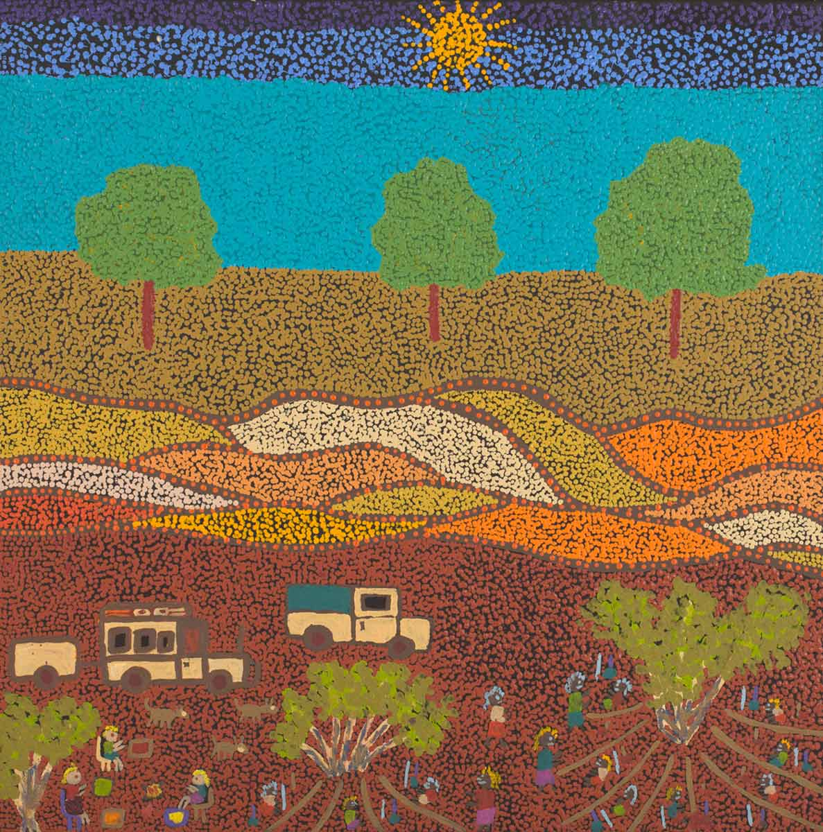 An acrylic painting on canvas showing a landscape with a sun and three trees above a scene of two vehicles and groups of people. - click to view larger image