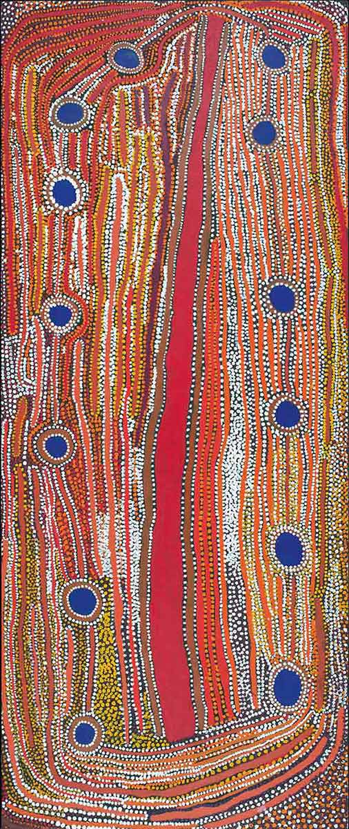 Minyipuru (Seven Sisters) 2007 by Muni Rita Simpson, Rosie Williams and Dulcie Gibbs, Martumili Artists. - click to view larger image