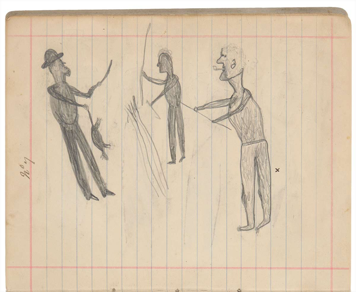 Sketchbook drawings of three figures. - click to view larger image