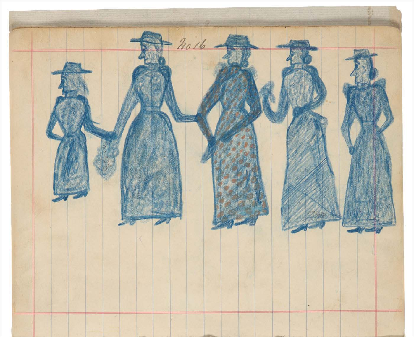 Sketchbook drawings of five women in blue - click to view larger image