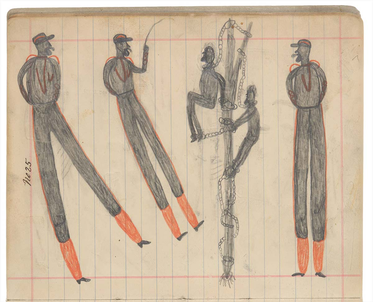 Sketchbook drawing of three men in uniform, with two Indigenous men chained to a tree - click to view larger image