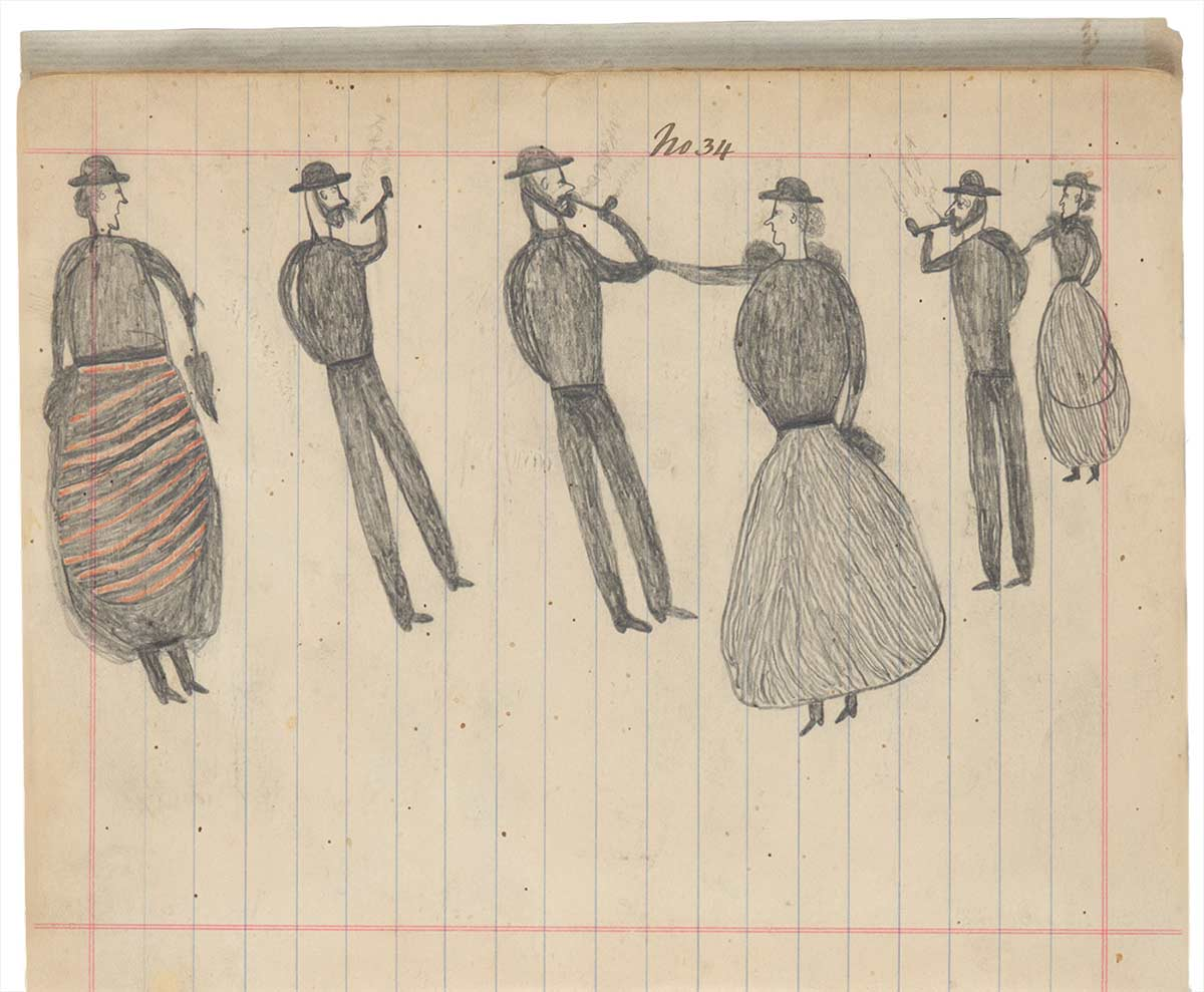 Sketchbook drawing of three women and three men smoking pipes - click to view larger image