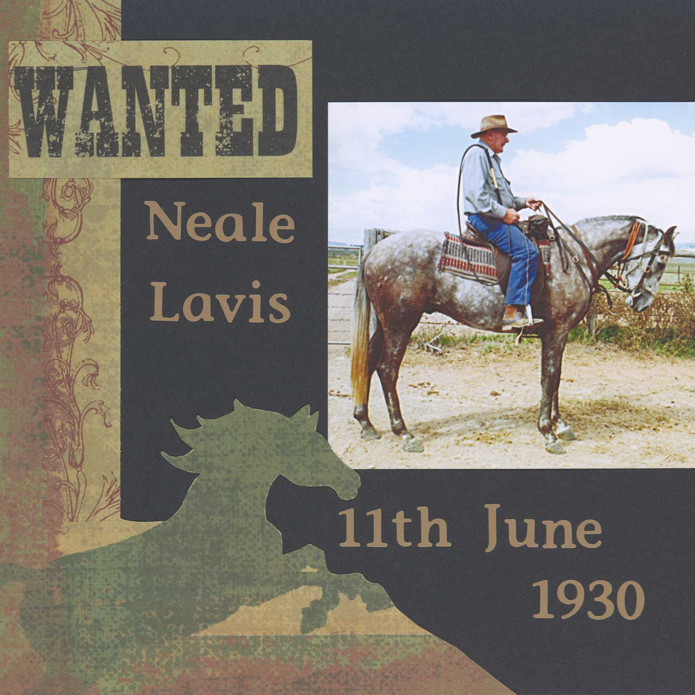 Neale riding his stockhorse Clancy, ready for a trip to the mountains. - click to view larger image