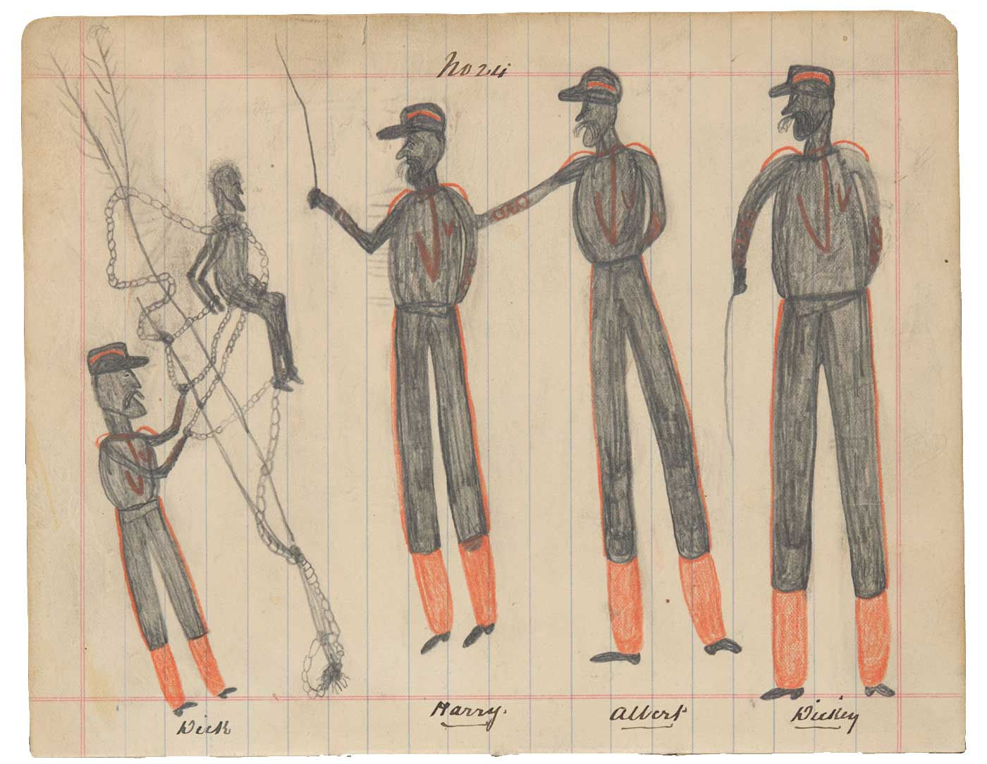 Sketchbook drawing of four men in uniform with an Indigenous man tied to a tree in chains