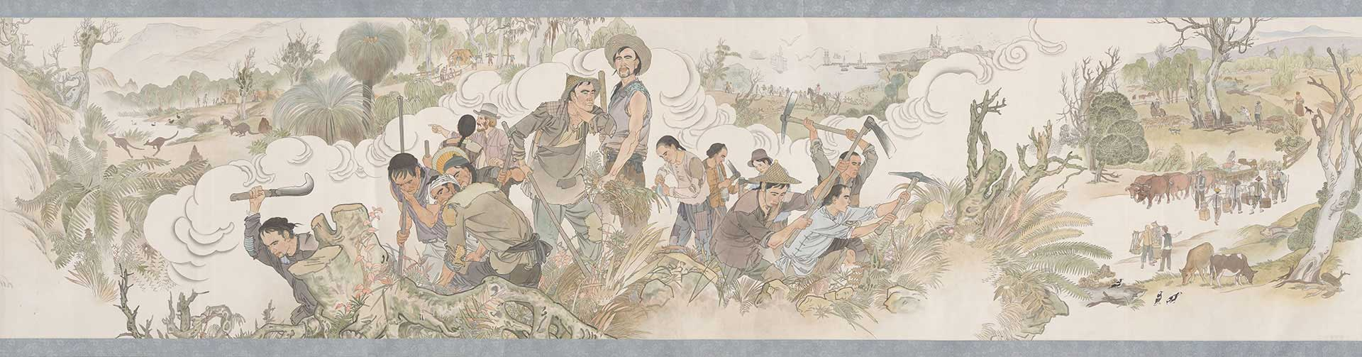 Stitched panels of the Harvest of Endurance scroll featuring 'Before the gold rush' and 'Chinese workers'.