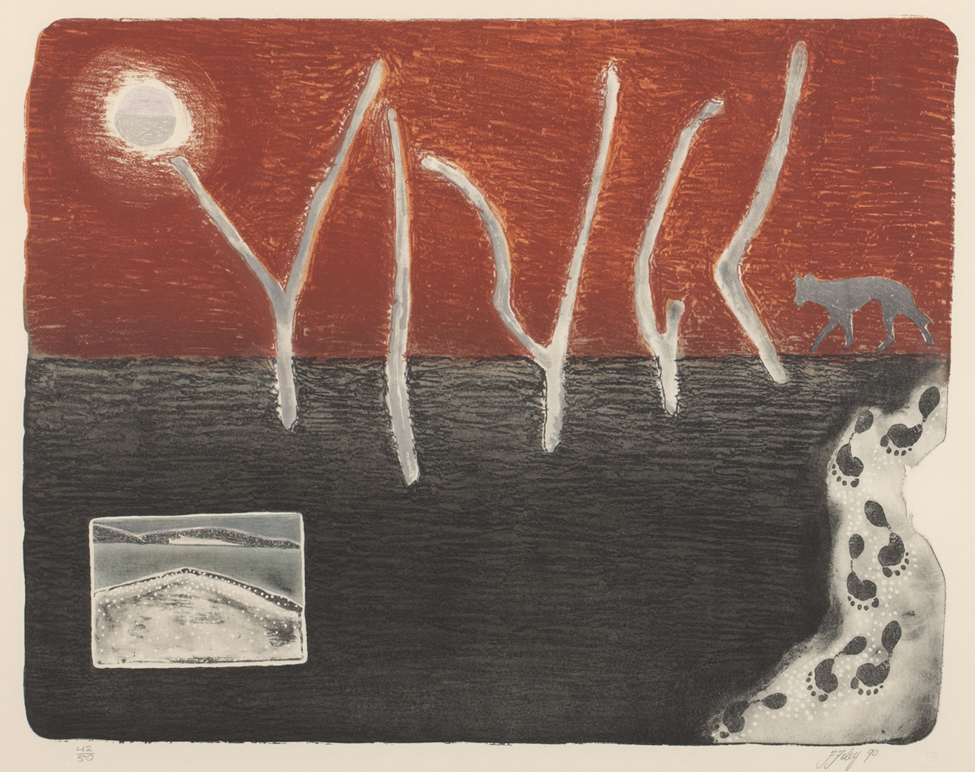 A colour print on paper featuring a brown and black landscape.The landscape is split into to horizontal sections, brown at the top and black at the bottom. Cutting across both sections are five thin grey shapes resembling dead trees. In the top left corner is a grey circle resembling a sun. On the right side is a dog-like animal, probably a dingo, and a section depicting human footprints. There is a rectangular feature in the bottom left showing a black, white and grey landscape. On the bottom left of the print is the series number '42/50' and the signature 'F Foley 90' is on the bottom right.