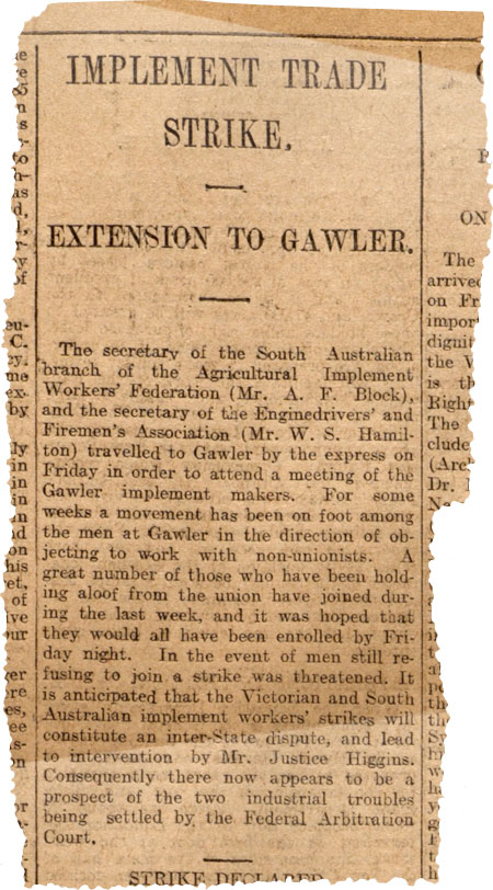 Newspaper clipping titled 'Implement Trade Strike Extension to Gawler'.