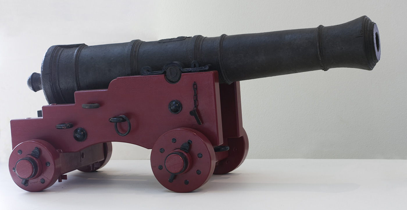 Cannon from HMB Endeavour about 1745 with replica wooden carriage.