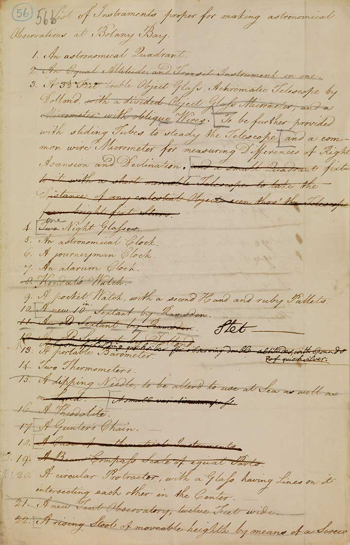 Lieutenant William Dawes' 'List of Instruments - click to view larger image