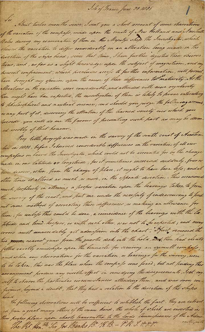 Letter from Matthew Flinders to Sir Joseph Banks - click to view larger image
