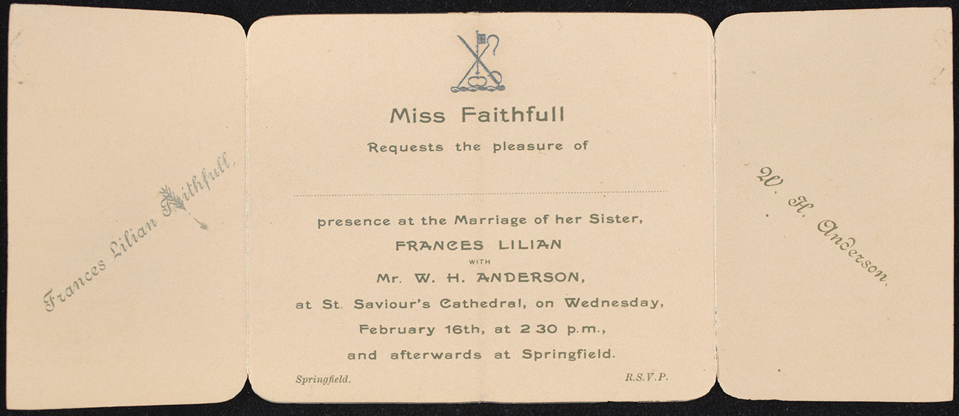 A printed invitation to the wedding of Frances Lilian Faithfull and William Hugh Anderson.