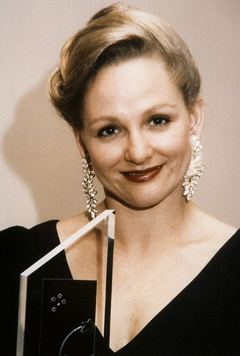 Miss Australia 1994, Jayne Bargwanna holding the Miss Australia award - click to view larger image