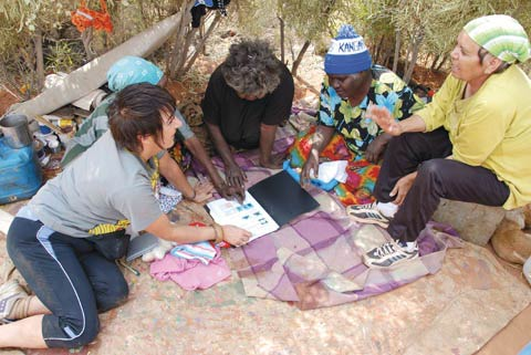 Margo Neale sits on the ground talking with four women, who are looking at a folder. Tins of paint and small trees are visible in the background.
