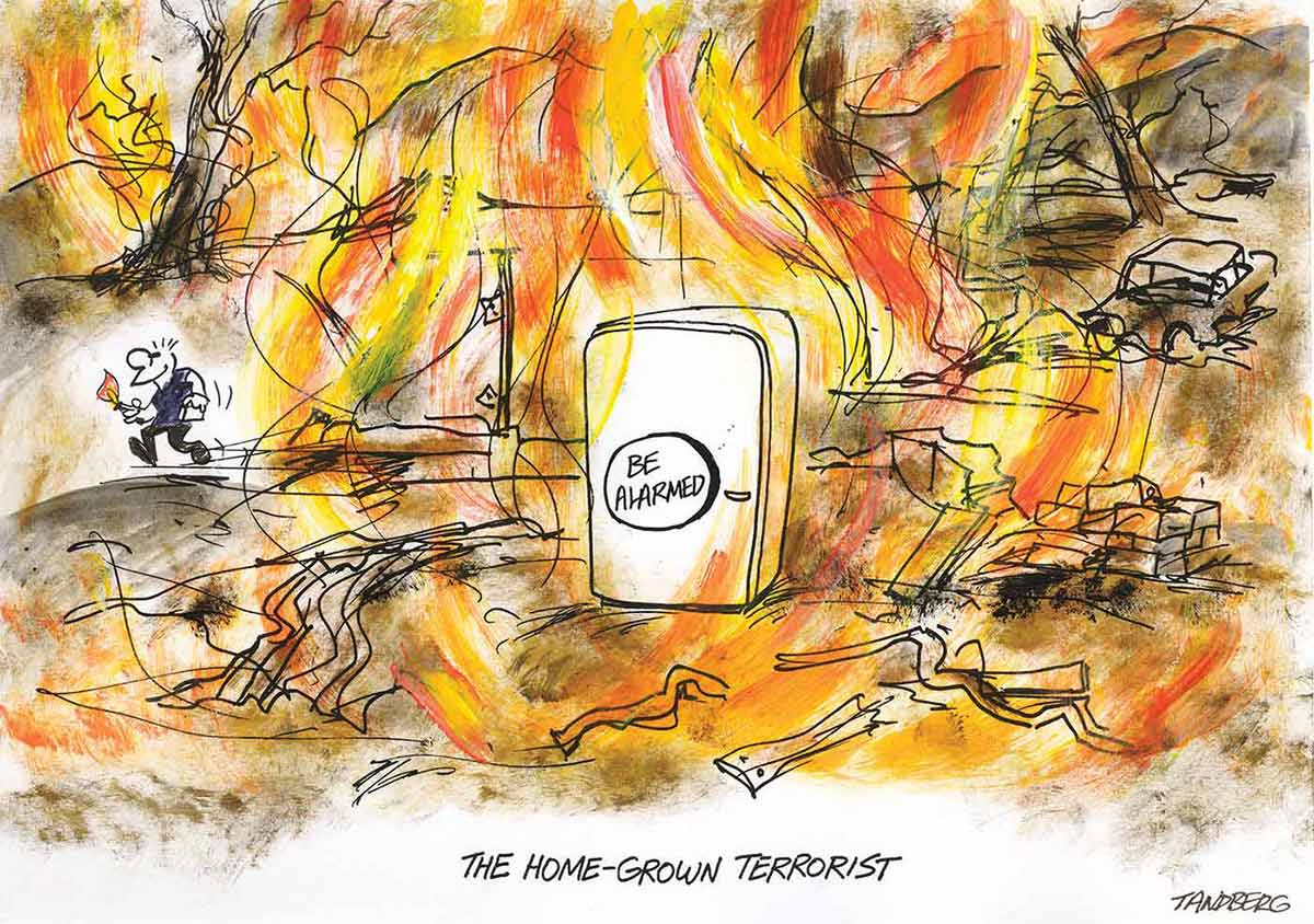 A colour cartoon depicting a fridge with a 'Be Alarmed' sticker on the front standing in the middle of a scene of destruction, with flames engulfing cars, homes and the landscape. To the left, a man with a lighter and a mischievous grin runs away, carrying a lighter. - click to view larger image