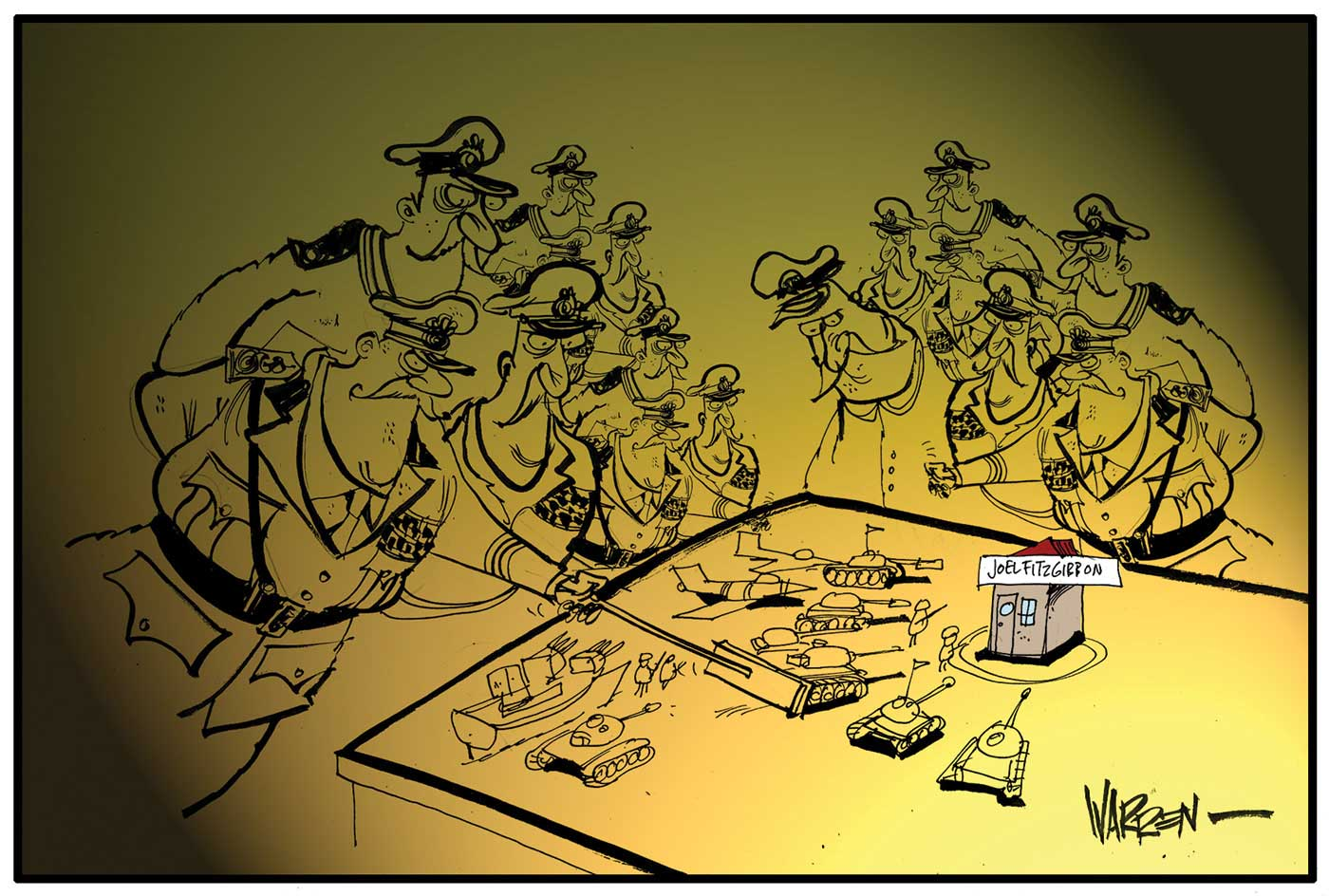 A colour cartoon depicting a group of high-ranking army officers gathered around a table. On the table are model tanks, aircraft and a gunboat, all arranged around a building marked 'Joel Fitzgibbon'. The officer in the foreground is pushing a tank forward with a pointer.  - click to view larger image