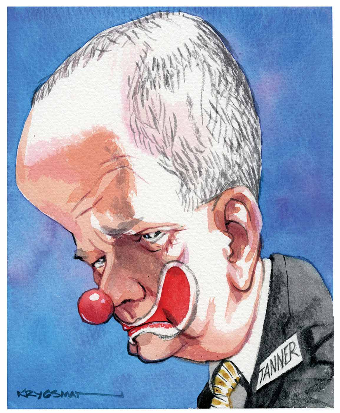 A colour caricature of Lindsay Tanner. He is depicted facing to the left of the image. He wears a suit, light coloured shirt and gold striped tie. His head is very large in relation to his body. He has a clown's mouth painted over his own and a clown's red nose stuck on the end of his nose. His expression is one of weariness; his head is tilted down toward the left of the image to reinforce his expression. A white card with the word 'Tanner' on it can be seen on the left lapel of his jacket. The background of the image is blue. - click to view larger image