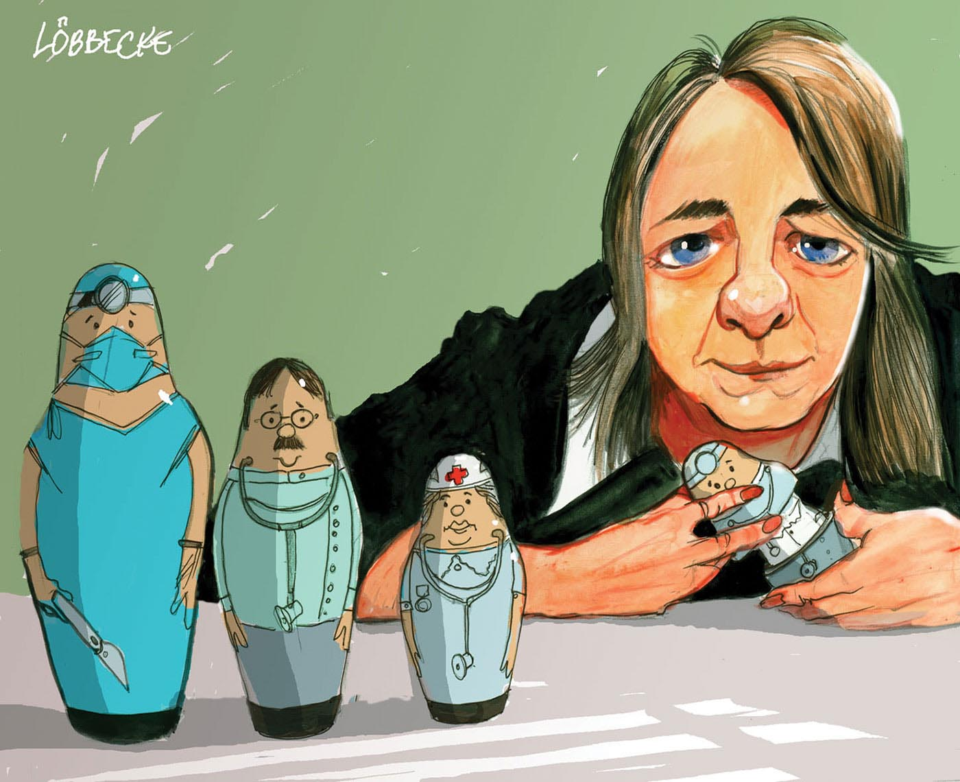 A colour cartoon depicting Nicola Roxon sitting at a table with a set of Babushka nesting dolls. Three of the dolls are to the left of the cartoon. They represent, from left to right, a surgeon, a doctor and a nurse. Ms Roxon holds another doll in front of her; she is opening it to reveal another doll inside. - click to view larger image