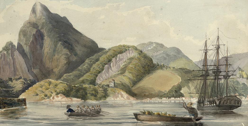 Corcovado, Rio de Janeiro about 1838 by Owen Stanley.