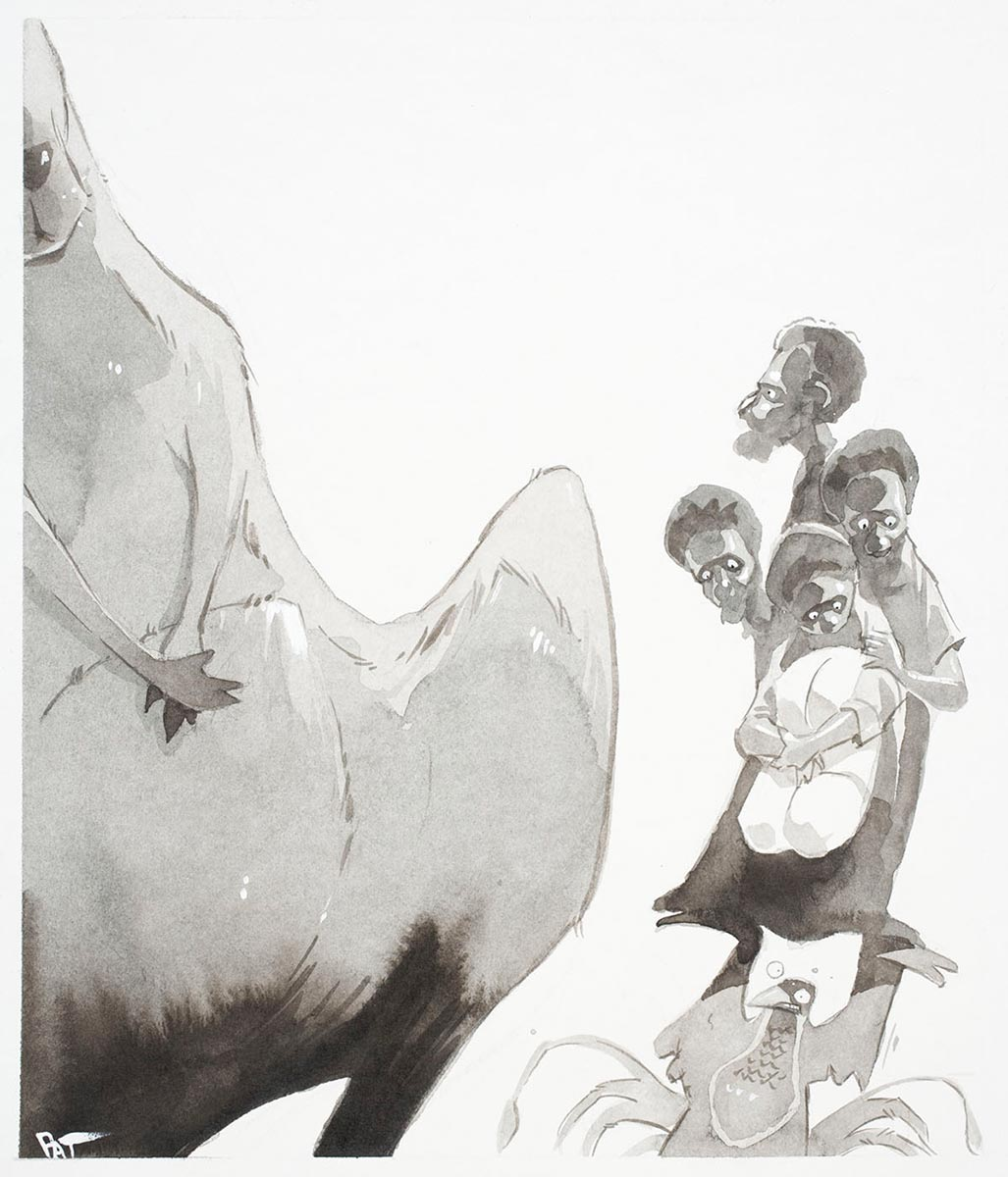 Cartoon of a Papuan family of four held up by a bird of paradise, with a giant Kangaroo coming towards them - click to view larger image