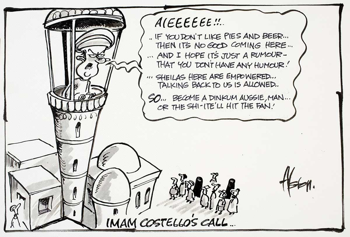 Cartoon of Peter Costello at the top of a Mosque tower, calling out to those beneath about Australian values such as pies and beer, having a sense of humour and empowering women - click to view larger image