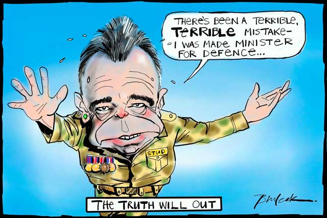 "Cartoon of Defence Minister Dr Brendan Nelson dressed in an army uniform sweating and looking worried saying, ""There's been a terrible, terrible mistake - I was made Minister for Defence."" - click to view larger image"