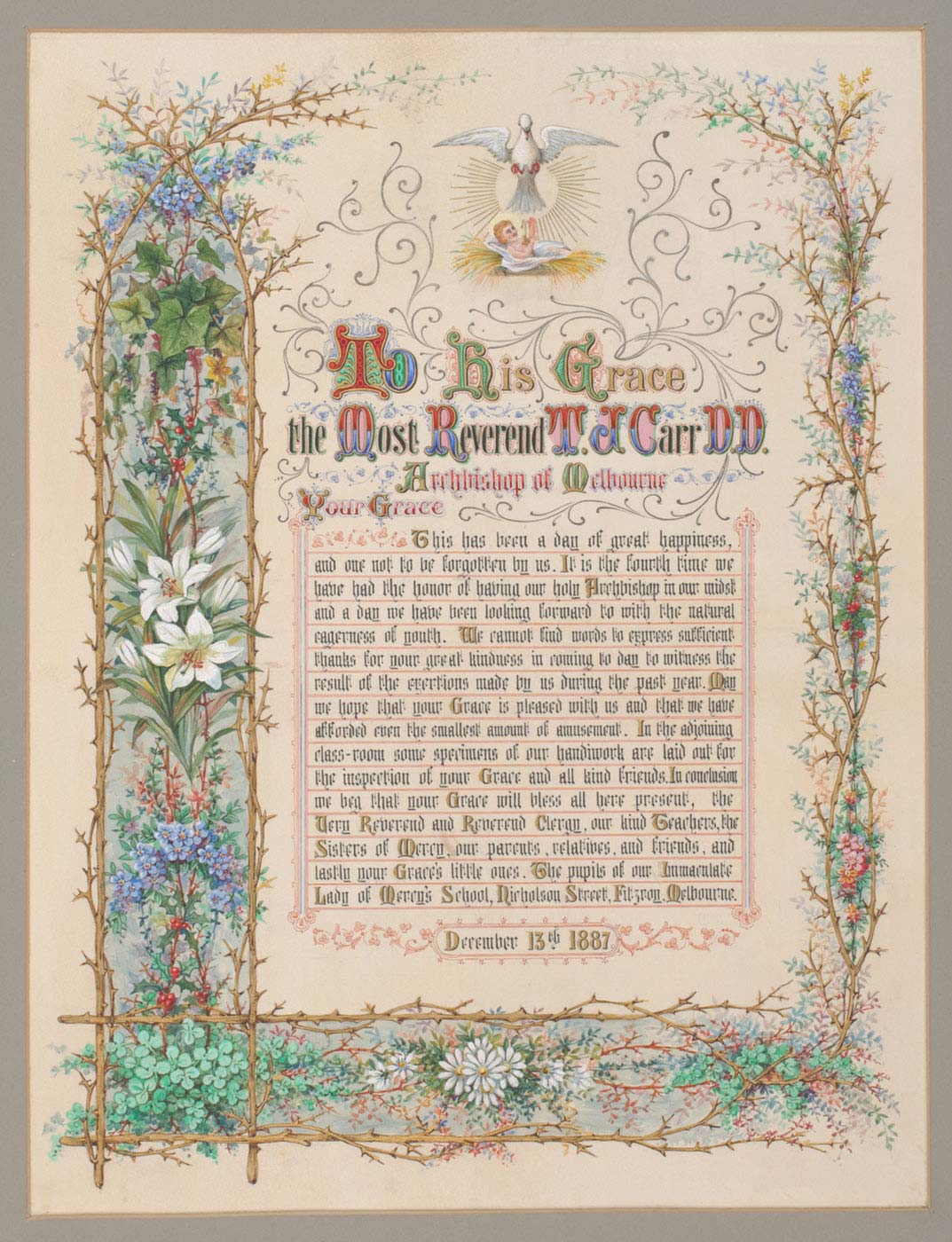 Page from a religious-themed book featuring calligraphy, ornate borders and illustrations. - click to view larger image