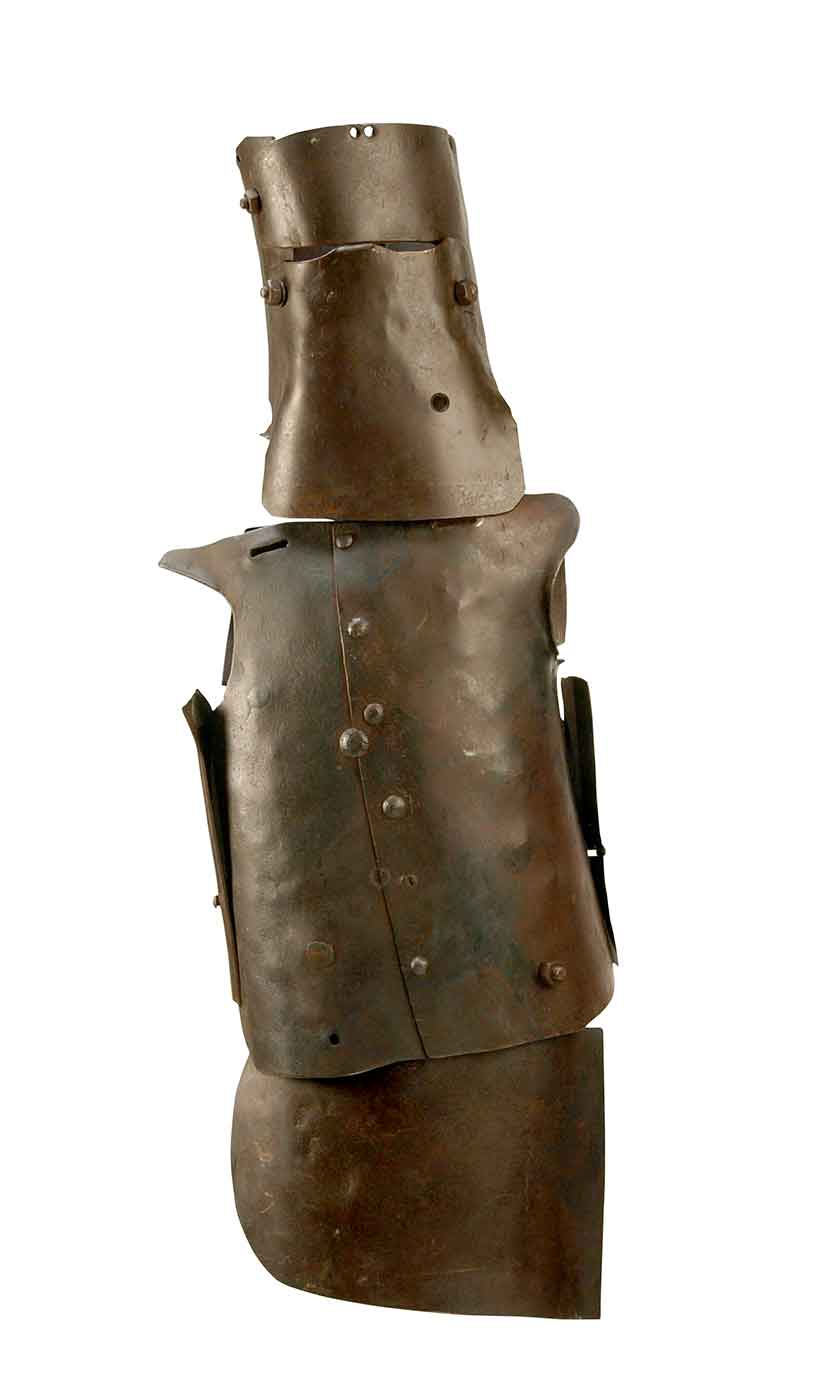 Crudely made armour fabricated from sections of iron. - click to view larger image