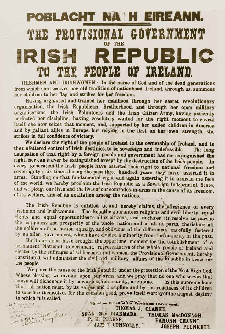 Old printed publication featuring text: THE PROVISIONAL GOVERNMENT OF THE IRISH REPUBLIC.