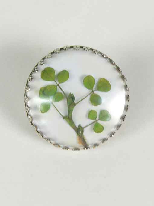 Badge featuring a shamrock set in resin. - click to view larger image