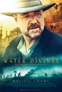 A poster for 'The Water Diviner' featuring a picture of the actor Russell Crowe.