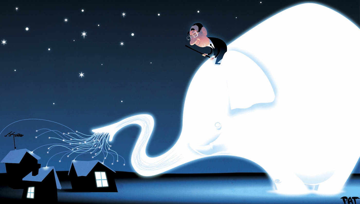 A colour cartoon depicting a man in a suit on top of a large, glowing white elephant. The elephant leans down toward some houses; what appears to be multi-strand fibre-optic cable emerges from its trunk and attaches to the houses. In the background is the starry night sky. - click to view larger image
