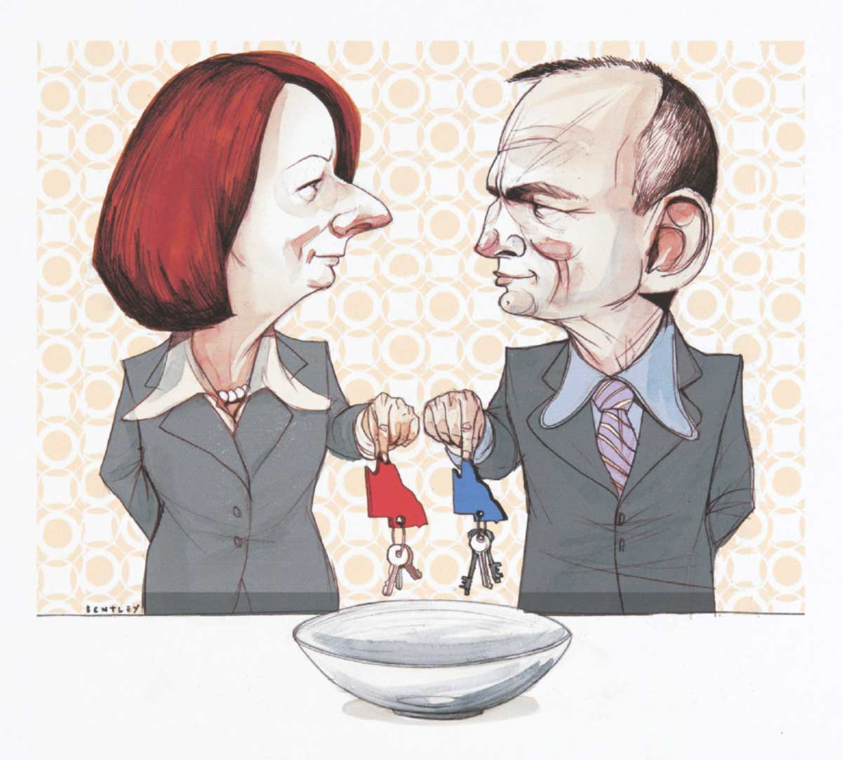 A colour cartoon depicting Julia Gillard and Tony Abbott standing at a table. On the table is a bowl. Both hold a set of keys above the bowl; both sets have a key tag in the shape of Queensland. Gillard's tag is red, while Abbott's tag is blue. They look at each other as they hold the keys over the bowl. In the background is a wall with patterned wallpaper on it. The pattern is reminiscent of the 1970s. - click to view larger image
