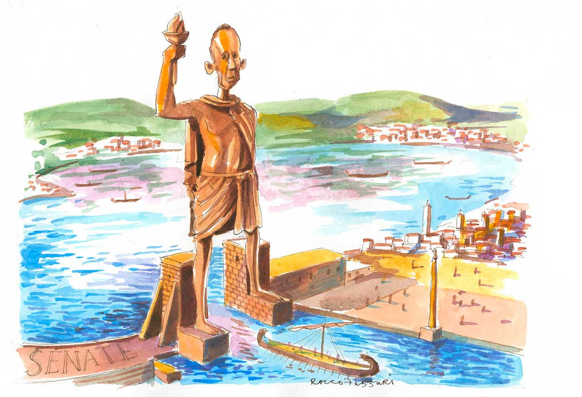 A colour cartoon depicting Bob Brown as the Colossus of Rhodes. An enormous statue of him stands astride the entrance to a harbour. The statue is wearing a loose toga and holds a flaming lantern in its right hand. Beneath the statue, an ancient Greek ship is near the harbour entrance. Around the edge of the harbour are buildings and smaller towers. At the left of the statue, on part of the harbour wall, is written the word 'SENATE'.  - click to view larger image