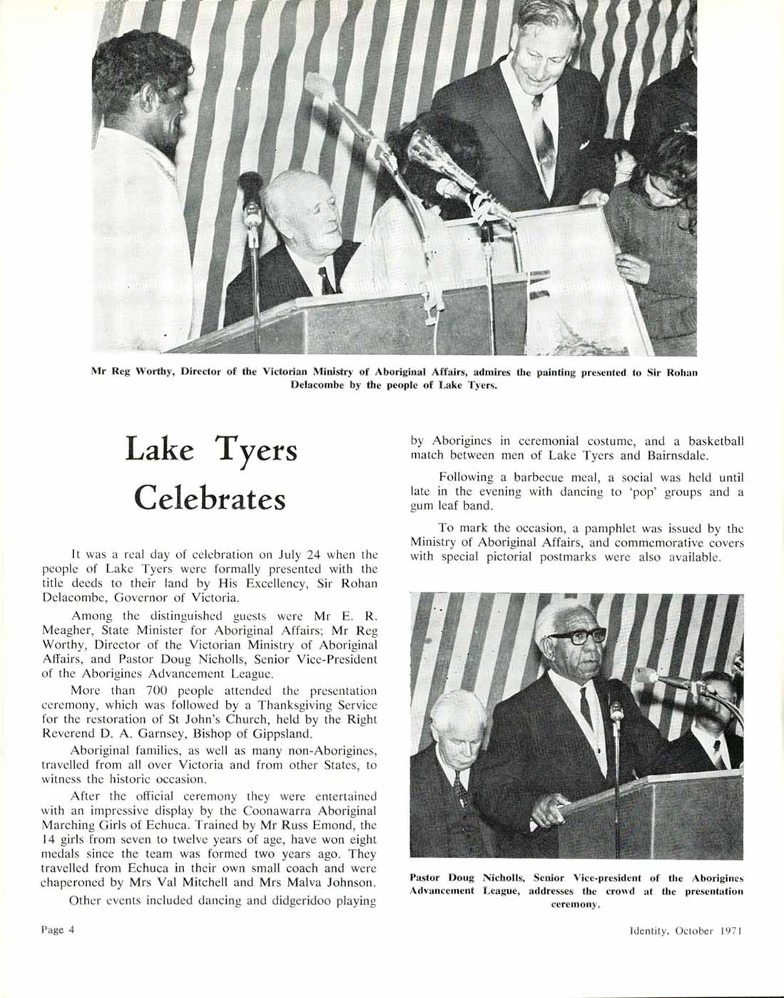 Page out of publication that features an image of Reg Worthy and another image of Pastor Doug Nicholls. Both men are participating in presentation ceremonies. The title of the section is: 'Lake Tyers Celebrates'. - click to view larger image