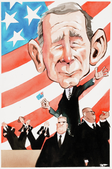 Cartoon of George Bush surrounded by bodyguards and a crowd. The background is an USA flag. - click to view larger image