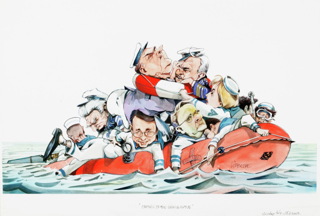 A cartoon of Labor Party figures piled into a sinking life raft, with Kim Beazley and Simon Crean shoving each other at the top on the pile.  - click to view larger image