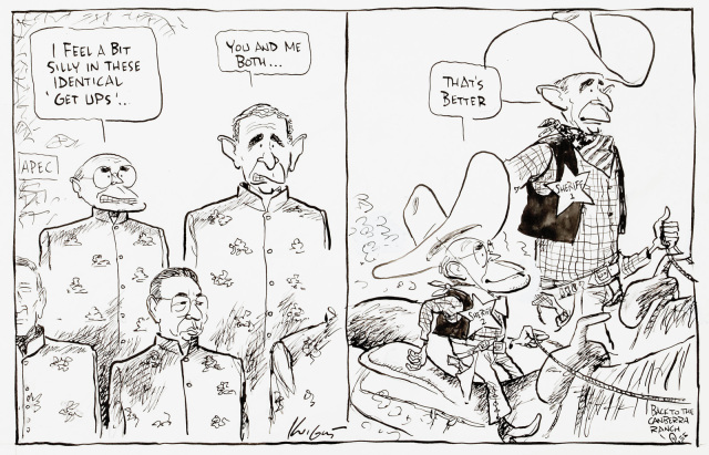 A cartoon featuring John Howard and George Bush. In the first panel, they are wearing identical traditional silk suits. Howard says 'I feel a bit silly in these identical