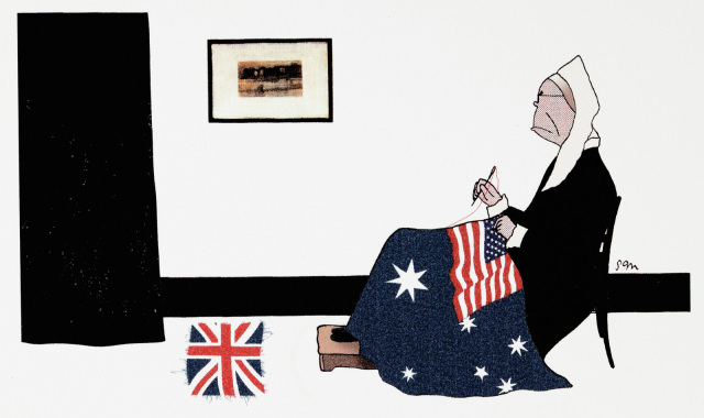 A cartoon of a woman resembling John Howard, in a white headpiece and black dress. She sits sewing an Australian flag with the Union Jack replaced with the American flag. The removed Union Jack sits on the floor nearby. - click to view larger image