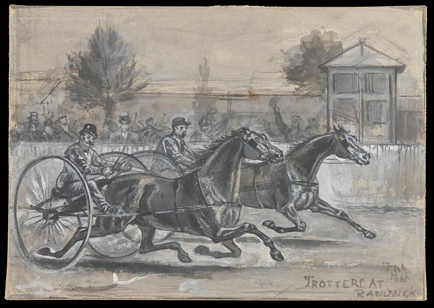 Black and white drawing showing two men in carts being pulled by racehorses.
