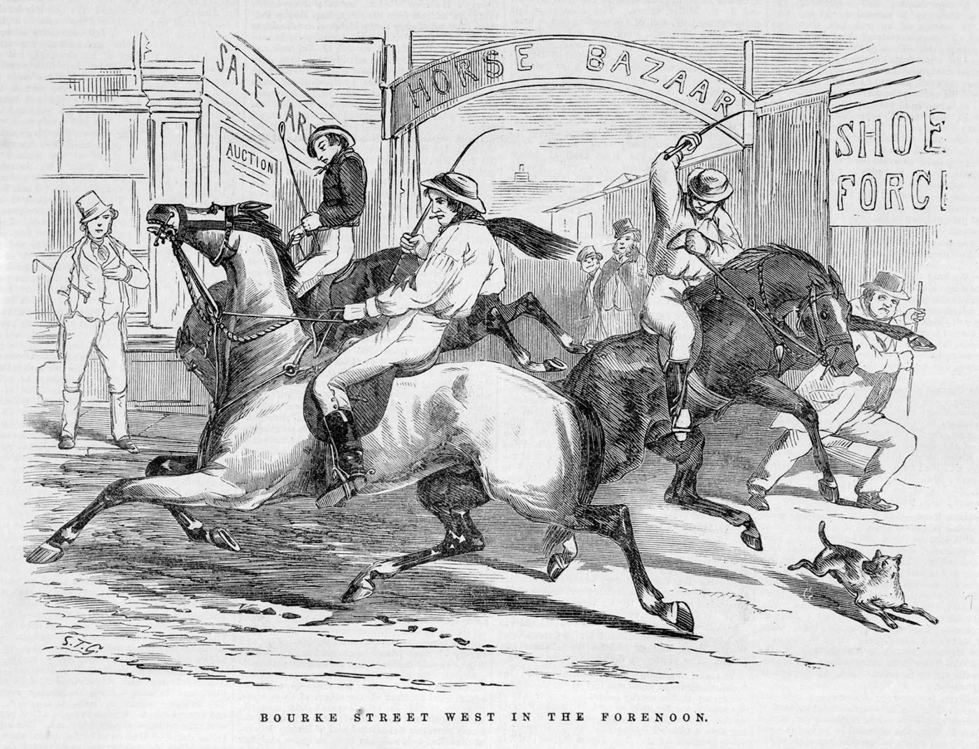 Black and white print showing three men on horses in a busy street. A sign reads 'Horse Bazaar' above the street. A man and a dog scurry away.