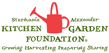 Logo for Stephanie Alexander Kitchen Garden Foundation. Includes a graphic of a red watering can and the text 'Growing, harvesting, preparing, sharing'.