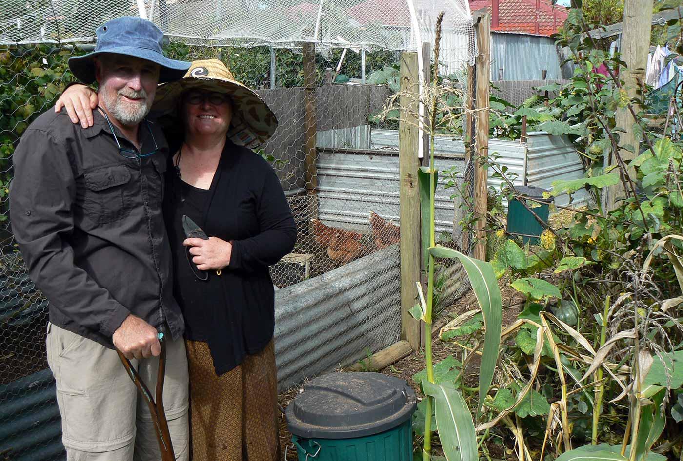 Stephen Knight and Barbara Wheeler in their  garden.