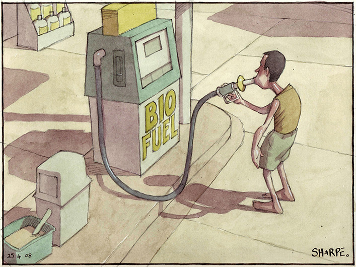 A gaunt man in shorts and sleeveless T-shirt stands in front of a petrol bowser with the nozzle in his mouth. The bowser has the label 'Bio fuel'.  - click to view larger image