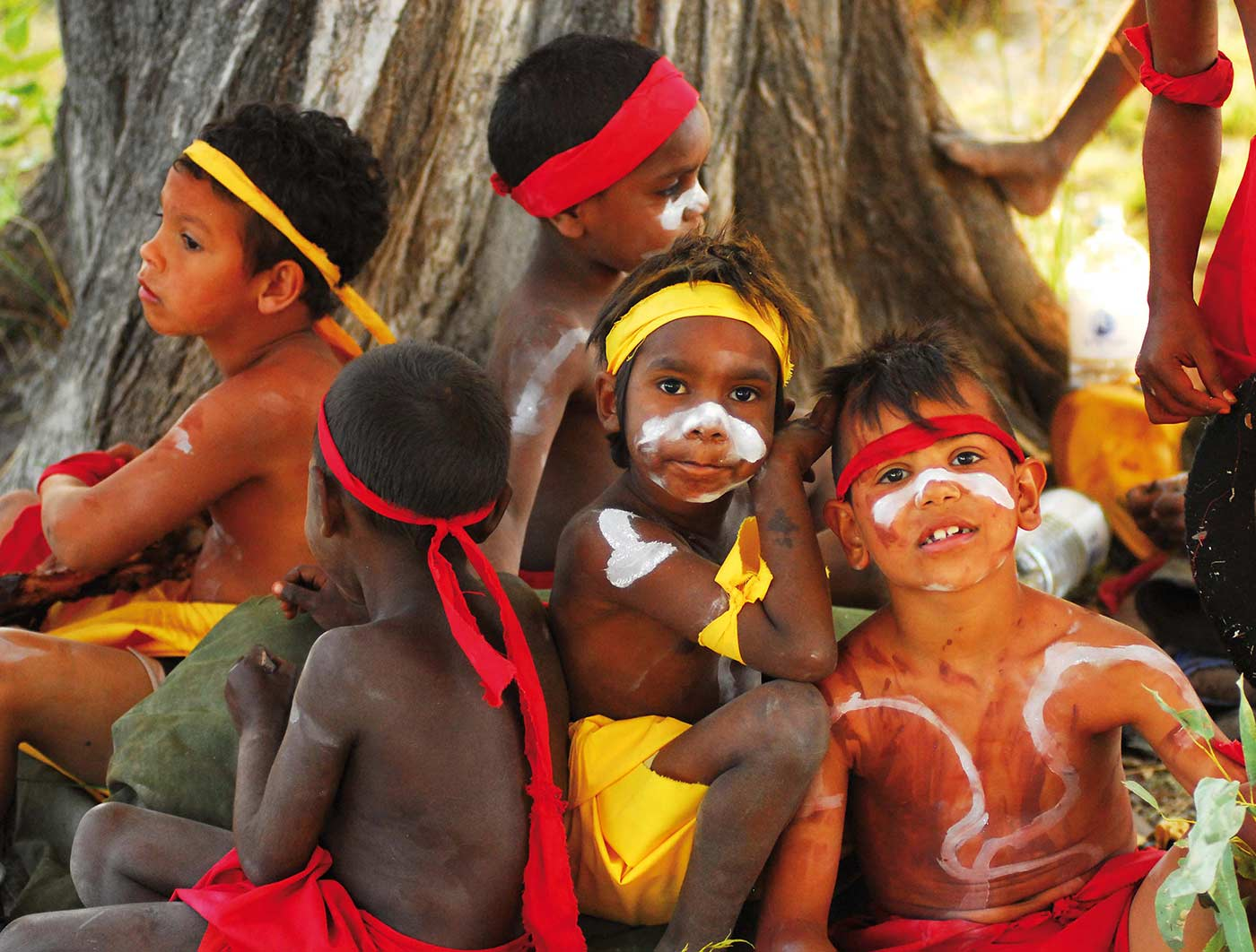 Boys painted up ready to dance Kurtal at the Ngumpan workshop. - click to view larger image