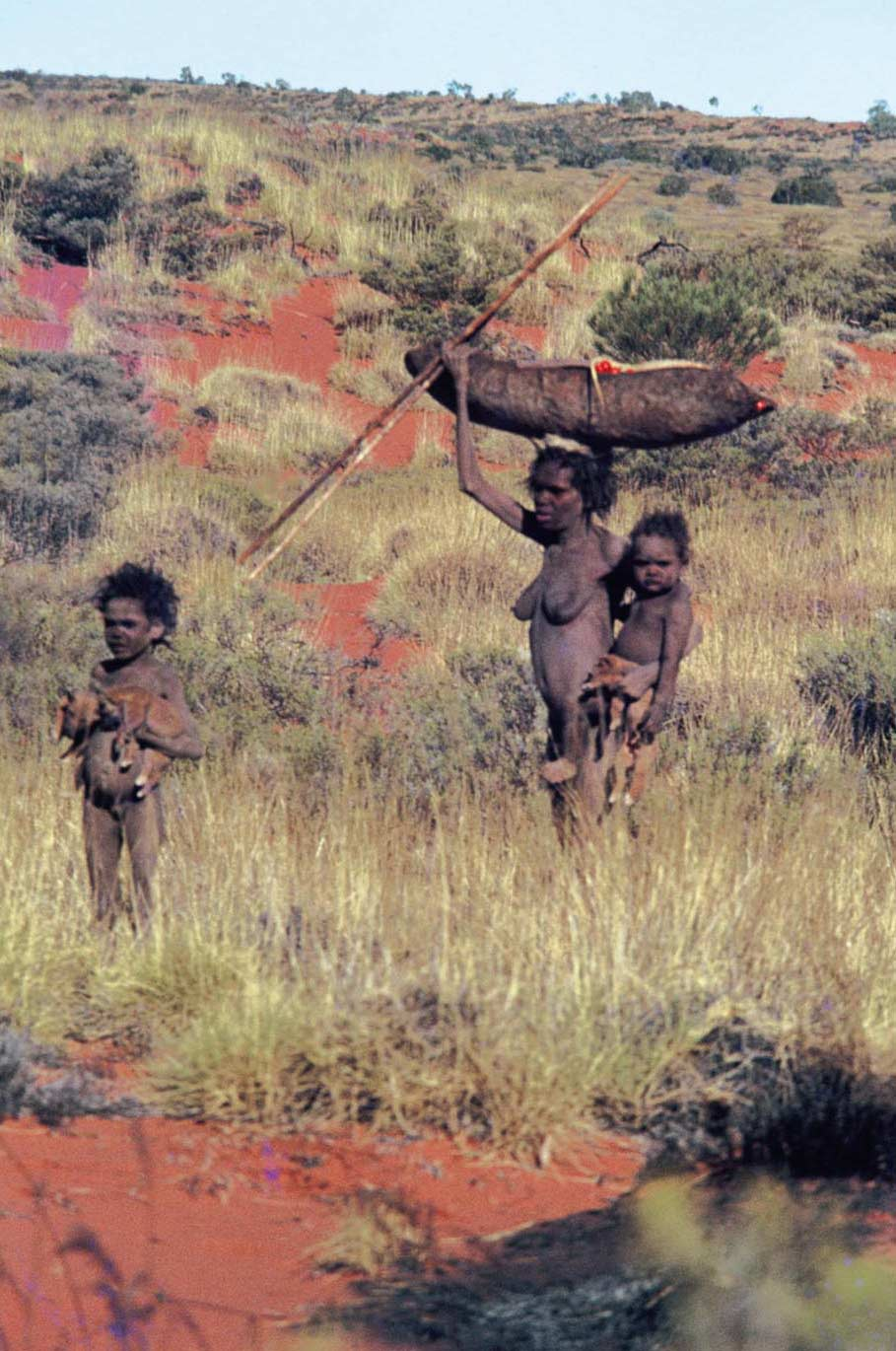 A woman standing in the bush with a wooden vessel on her head. She is carrying a baby and a young child is standing nearby and holding what appears to be two dingo puppies.