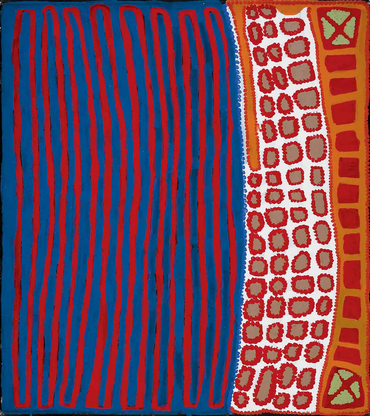 A painting on canvas with a vertical blue and red stripe-like section on the left, and vertical lines of squares on the right. The left side of the painting has long thin oblong outlines in red on a blue background. The middle of the painting has three and a half vertical lines of grey squares outlined with red dots on a white background On the right there is a vertical line of red squares on an orange background with a green square decorated with a red