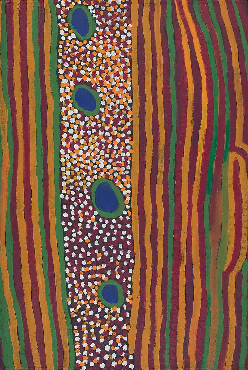 A painting on brown linen with vertical stripes of yellow, brown, burgundy and green, flanking a central section of four blue and green circles in a vertical line on a background of white, burgundy, and orange dots. - click to view larger image