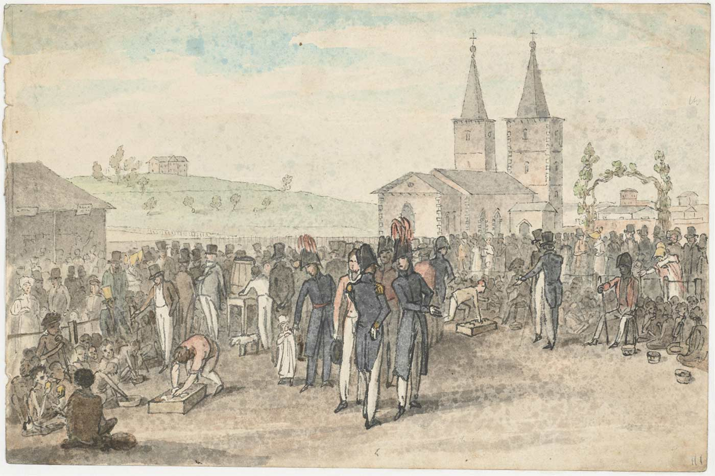 Watercolour painting showing a crowd of people in nineteenth century clothing standing in a town setting with a cathedral in the background.